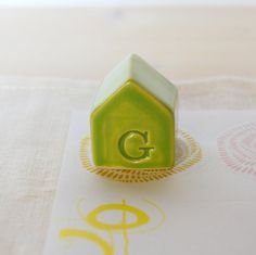 Small ceramic house Clay house Green house G by TreasureCraftsBox
