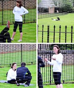 Kate working out!! Supposedly her sister Pippa acted as her trainer, helping Kate regain her figure with running, biking, yoga, and workouts on the rowing machine.
