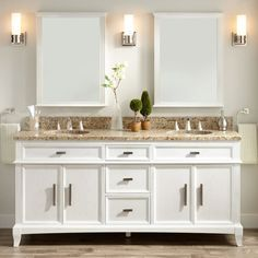 "Signature Hardware 428462 Livia 72"" Wood Double Vanity Cabinet - Choose Your Van The 72"" Livia vanity will bring functional style to your master bathroom. The roman-inspired design features fluted detailing and hammered hardware that adds flair to the cabinet's style. The spacious interior has drawers and adjustable and removable shelves to offer plenty of room for organization.Signature Hardware 428462 Included Components:Wood vanity cabinetOptional choice of stone vanity top with vitreous chin Beige Bathroom, Ikea Bathroom, Bathroom Kids, White Bathrooms, Bathroom Things, White Bathroom Cabinets, Bathroom Canvas, Dark Cabinets, Downstairs Bathroom"