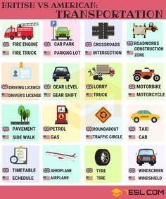British vs American English: Transport Vocabulary - 7 E S L British Vs American Words, British English, British Slang, British Sayings, English Time, Learn English For Free, Learn English Words, English Writing Skills, English Lessons