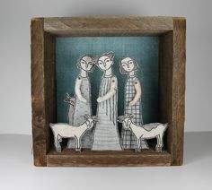 girls and goats fiber art diorama by cindy steiler of MarysGranddaughter (amazing shop!)