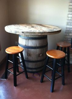 """new whisky barrel table! Barrel from """"junk stock"""", original with cork, table top is an electric spool! Barrel Furniture, Rustic Furniture, Diy Furniture, Table Bar, Patio Table, Cork Table, Whiskey Barrel Table, Wine Barrels, Barris"""