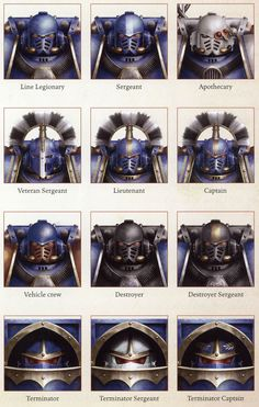 "jolly-plaguefather: "" fourtygay: "" robo-skeleton-hell: "" a-40k-author: "" Heresy-Era Ultramarines rank signifiers. "" So basically, the better eyebrows you have, the higher your rank "" ultramarine..."