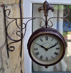 gauge traditional double sided station clock design with wall bracket in maroon