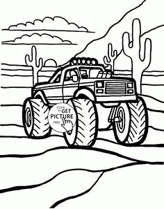 Monster Truck In The Desert Coloring Page For Kids Transportation Pages Printables Free