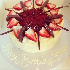 Chocolate, strawberries and red velvet cake...what more could I want in life? #CortezTreats #cake #redvelvet #strawberries #chocolate #buttercream #iminlove #savemeaslice