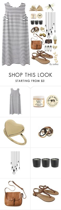 """""""Stripes"""" by ellixo ❤ liked on Polyvore featuring Wood Wood, Burt's Bees, Topshop, Toast, Merona, Tim Holtz, stripes, dress and blackandwhite"""