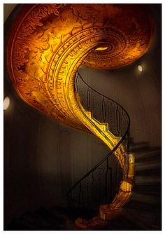 spiral staircase in gold. Beautiful Architecture, Art And Architecture, Architecture Details, Dubai Architecture, Staircase Architecture, Grand Staircase, Staircase Design, Luxury Staircase, Art Nouveau