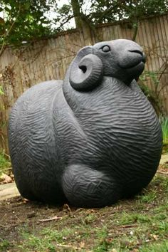 Oak Farm Yard #sculpture by #sculptor Reece Ingram titled: 'Black Ram (Carved Oak Wood Lifesize Male Sheep statue Sculpture)' #art