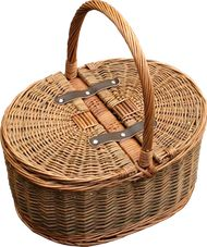 Full double steamed buff and green willow with leather hinges  Size 38 x 35 x 20cm