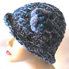 Crochet Cloche Hat - Blue Flower Wool Chenille - Fall Winter Fashion.