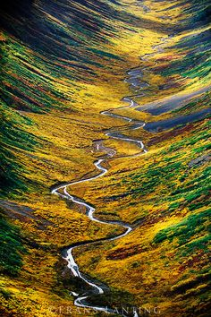 Tundra valley (aerial), Wrangell-St. Elias National Park, Alaska