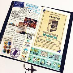 #mulpix ある日のトラベラーズノート、トラベラーズファクトリー成田空港へ行った日のページ。 #travelersnotebook #notebook…