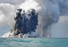 An underwater volcanic eruption off the coast of Tonga.