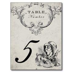 Vintage Alice in Wonderland Wedding Table Numbers Post Cards