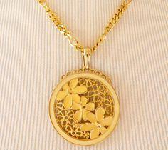 "Vintage Monet Boho Chic Enamel Pendant Statement Necklace Floral Signed Gold Tone 18"" chain, 2.5"" pendant by DecoOwl on Etsy"