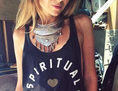 NBJ Protector Necklace + Spiritual Gangster tee! #NBJ #NatalieBJewelry #SpiritualGangster