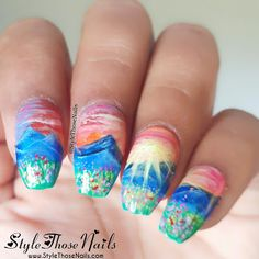 Style Those Nails: Sunrise Nails- Handpainted Landscape Nails- First Nailart of 2018