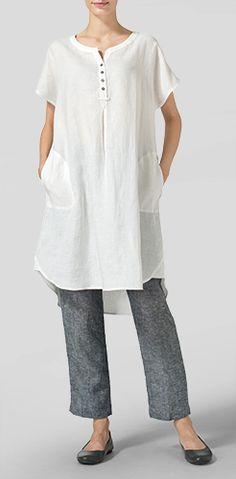 White Linen Split Neck Long Tunics