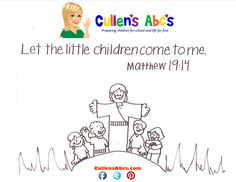 Bible Memory Verse Coloring Page:  The the Little Children Come to Me    http://online-preschool.cullensabcs.com/preschool-days/insects-day-2-2/