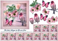 The best things in life are free on Craftsuprint designed by Bodil Lundahl - Some of the best things in life: a singing bird, a beautiful butterfly and some gorgeous flowers - put together vintage style intto a 3D step by step image. Included are also 10 teabag-tiles, which you can use for a medallion or for a border. - Now available for download!
