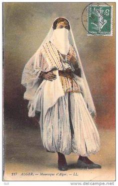 """Afrique-ALGERIE (Scènes & types) Mauresque d´ALGER (Editions: LL  n°217)(Au dos = cachet """"H.HELIE Alger"""""""