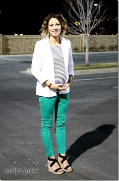 green jeans, white blazer, stripes from www.onelittlemomma.com