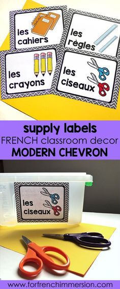French Classroom Decor Modern Chevron: classroom supply labels in color and B&W. A beautifully-decorated French classroom with little to no color ink use! Classroom Labels, Classroom Organization, Classroom Management, Behavior Management, Preschool Supplies, Classroom Supplies, Classroom Ideas, French Language Learning, Teaching Spanish