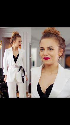 Black V Neck Sweater, Turkish Actors, Jumpsuit, Actresses, Elegant, Coat, Sweaters, Jackets, Outfits