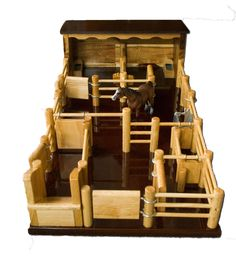 Two Horse Stable with Yard - Handmade Wooden Toy - ST5 by Country Toys - Handmade Wooden Trucks and Toys