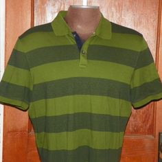 e4ee72b8787a Banana Republic Green Black Striped Polo Shirt Size XL Extra Large