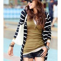 Women Knitting Casual Black Stripped Long Sleeve One Size @A5011b
