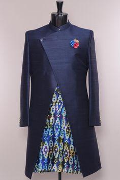 Federal Blue Raw Silk IndoWestern Sherwani-IW1102