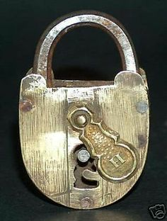 OLD BRONZE AND IRON LOCK, DECORATED KEYHOLE COVER