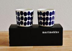 Marimekko Blue Koppelo cup set 0,2l by Maija Isola, made only for Finnair