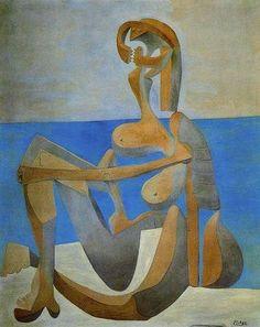 Bañista sentada a la orilla del mar_ 1930. Pablo Ruiz Picasso, Museo Picasso de Paris. La idea fue romper con la profundidad espacial y la forma de representacion  ideal del desnudo femenino, reestructurandolo por medio de lineas y planos cortantes y angulosos, logrando asi una ruptura con los modelos clasicos tradicionales
