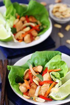 Thai Basil Chicken Lettuce Wraps {Gimme Some Oven}