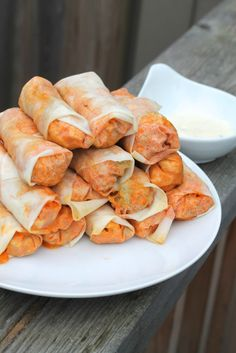 Healthy Buffalo Chicken Rolls - Only 100 Calories Each! | thedomesticblonde.com