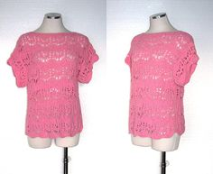 Vintage 60s Crochet Shirt / 60s Shirt / by BreesVintageRevivals, $30.00