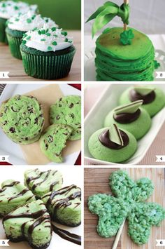 Everybody's a wee bit Irish on St. Patrick's Day, so break out the food coloring and celebrate with some tasty green treats!    1. Green velvet cupcakes by Love From the Oven    2. Green pancakes by Thoughtfully Simple    3. Mint chocolate chip cookies by TidyMom    4. Andes mint thumbprint cookies by Betty Crocker    5. Mini mint cheesecakes (four hearts to create a four leaf clover!) by Created By Diane    6. Shamrock rice krispie treats by The Outlaw Mom