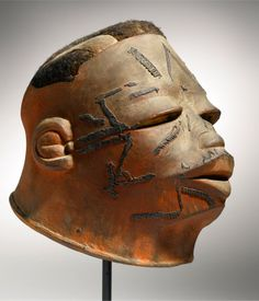 Africa | Helmet mask from the Makonde people of Tanzania and Mozambique | Wood and pigment