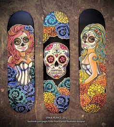 Erika Pearce   Girly   Rock n Roll   Skateboarding   Drawing   Graphic Design   Day Of Death Artwork  CHECK OUT THE INTERVIEW: http://www.skin-artists.com/interview-with-erika-pearce.htm