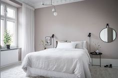 I can't get over the wall colors in this home. The pale pink bedroom walls come peeking through the light grey living room. The pink … Continue reading → Pale Pink Bedrooms, Beige Walls Bedroom, Pink Bedroom Decor, Bedroom Ideas, White Armchair, Dark Furniture, Furniture Chairs, Room Colors, Wall Colors