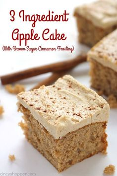 If you are a fan of simple recipes, you will want to make this Easy 3 Ingredient Apple Cake with Brown Sugar Cinnamon Frosting. All you will need is a spice cake mix, apple pie filling, and eggs. Enjoy as is, add on whipped topping or frosting. Cake Mix Desserts, Fall Desserts, Dessert Recipes, Recipies, Healthy Recipes, Party Desserts, Baking Recipes, Cookie Recipes, Candy