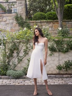 City Hall Wedding Inspiration, Bodice, Neckline, Georgette Fabric, Courthouse Wedding, Affordable Clothes, Jumpsuit Dress, Bridal Gowns, Strapless Dress