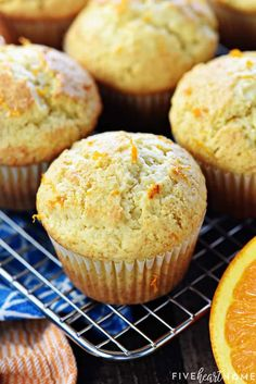 Orange Muffins are tender, lovely, and easy to make from scratch, with delicate flavors of vanilla and citrus from fresh orange juice and zest! Donut Muffins, Cake Mix Muffins, Vanilla Muffin Recipe, Simple Muffin Recipe, Fun Baking Recipes, Muffin Recipes, Cookie Recipes, Bread Recipes, Morning Glory Muffins