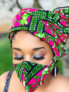 HEADWRAP & FACE MASK set, African Print Face Mask, Ankara Mask, 100% Cotton Reusable Face Mask w/ Filter Pocket, Shaped Mask HWFM2013 Mouth Mask Fashion, Face Mask Set, Pattern Cutting, Mask Design, Head Wraps, African Fashion, Cotton Fabric, Money, Closed Doors