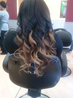 ombre from black to caramel/blonde tones – want to do this to my bangs!!- i want to do this to my hair!