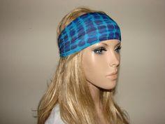 navy turqoise yoga headband  turban headband  by OtiliaBoutique