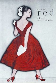 Elsa Martinelli is wearing red silk organdie evening dress by Ceil Chapman, photo by Clifford Coffin, New York, 1955, American Vogue, Feb.15, 1955